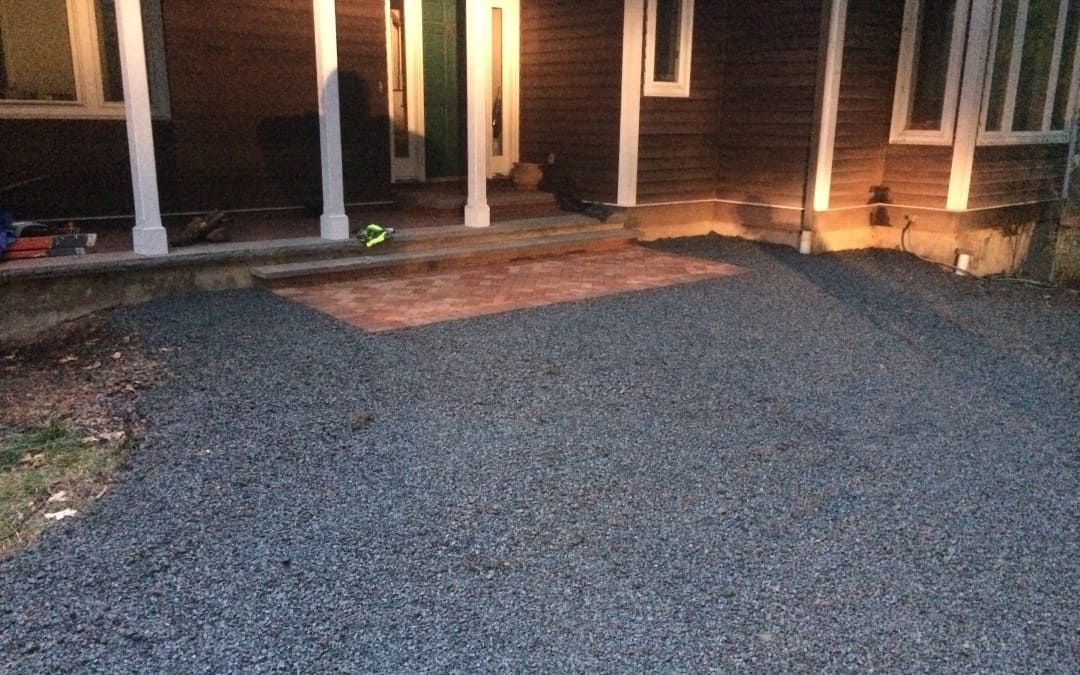 Cleaning up a front walk and stone driveway in Warren NJ